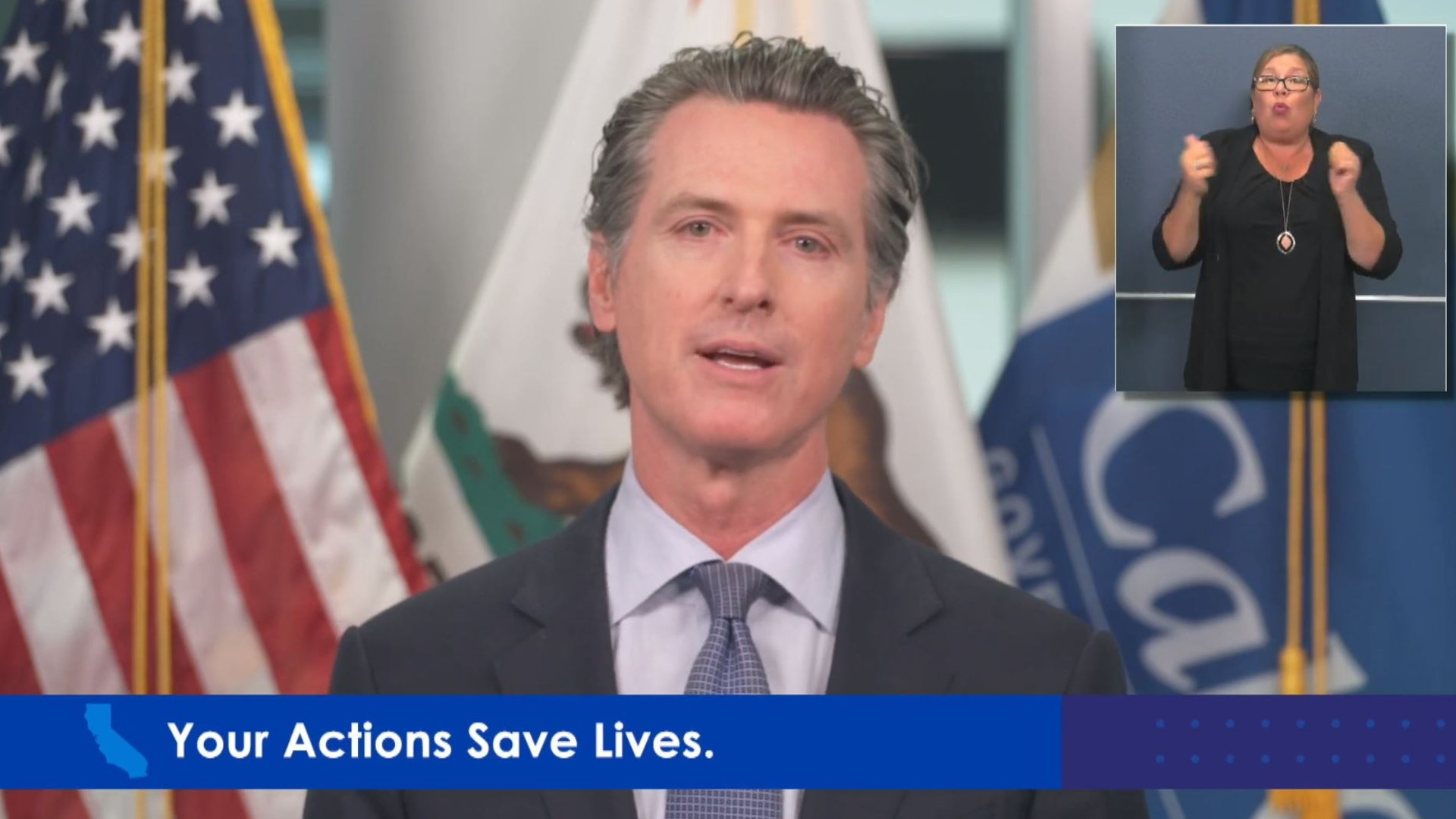 California Gov. Gavin Newsom discusses the May 25, 2020, death of George Floyd in a confrontation with police in Minneapolis during a news conference on May 29, 2020.