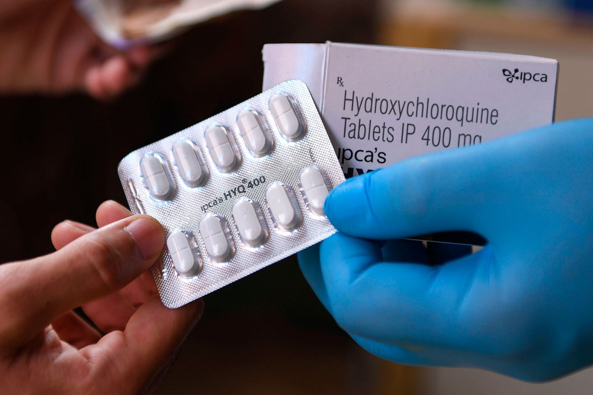 This photo taken on April 27, 2020, shows a vendor displaying hydroxychloroquine (HCQ) tablets at a pharmacy in Amritsar. (NARINDER NANU/AFP via Getty Images)