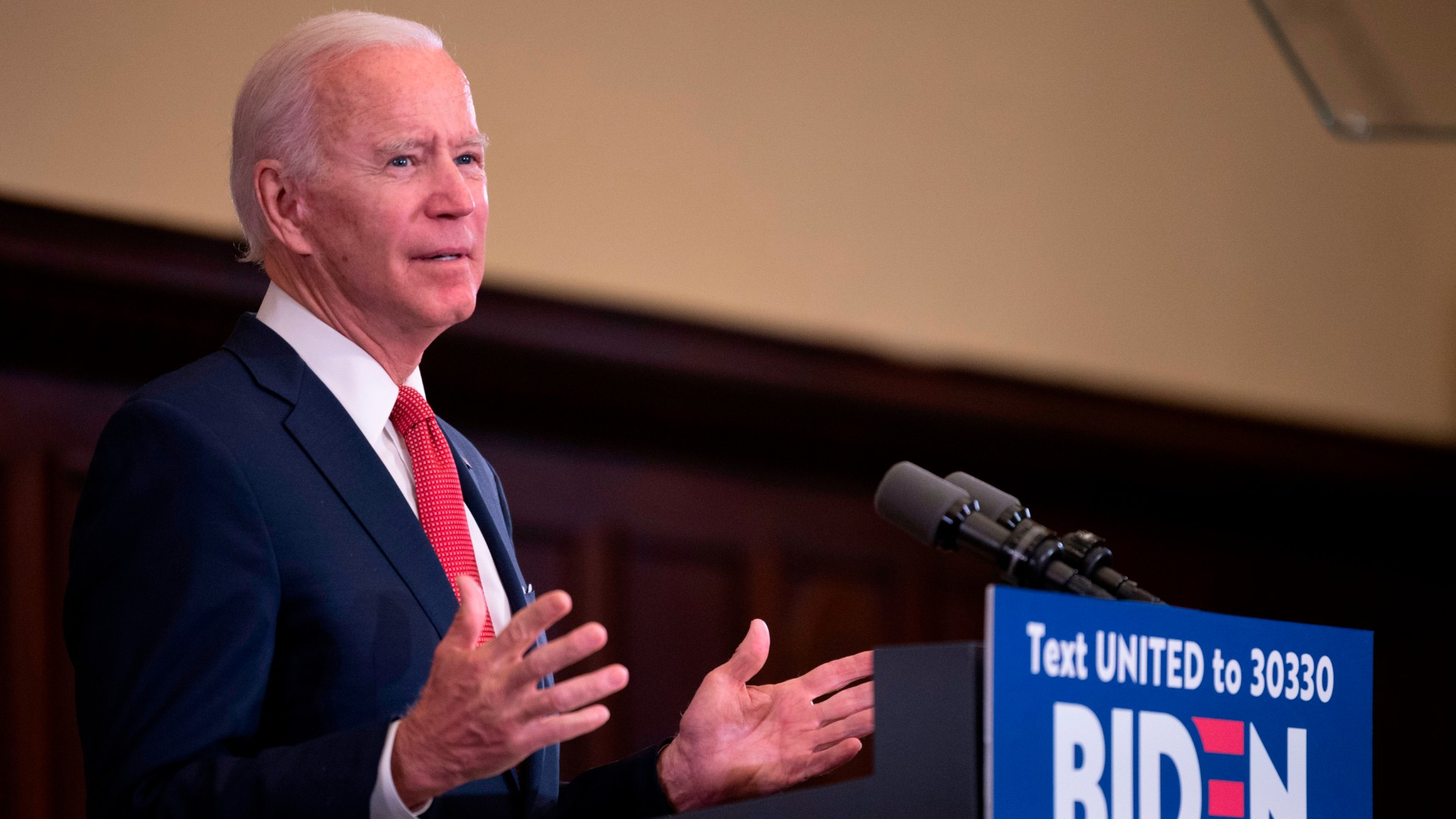 Former vice president and Democratic presidential candidate Joe Biden speaks about the unrest across the country from Philadelphia City Hall on June 2, 2020, in Philadelphia, Pennsylvania. (Jim Watson/AFP/Getty Images)