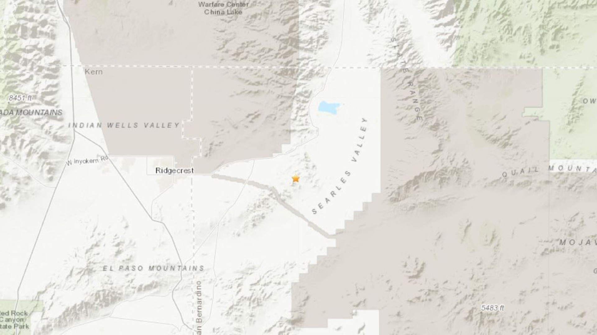 A 5.5-magnitude earthquake struck near Ridgecrest on June 3, 2020. (Credit: U.S. Geological Survey)