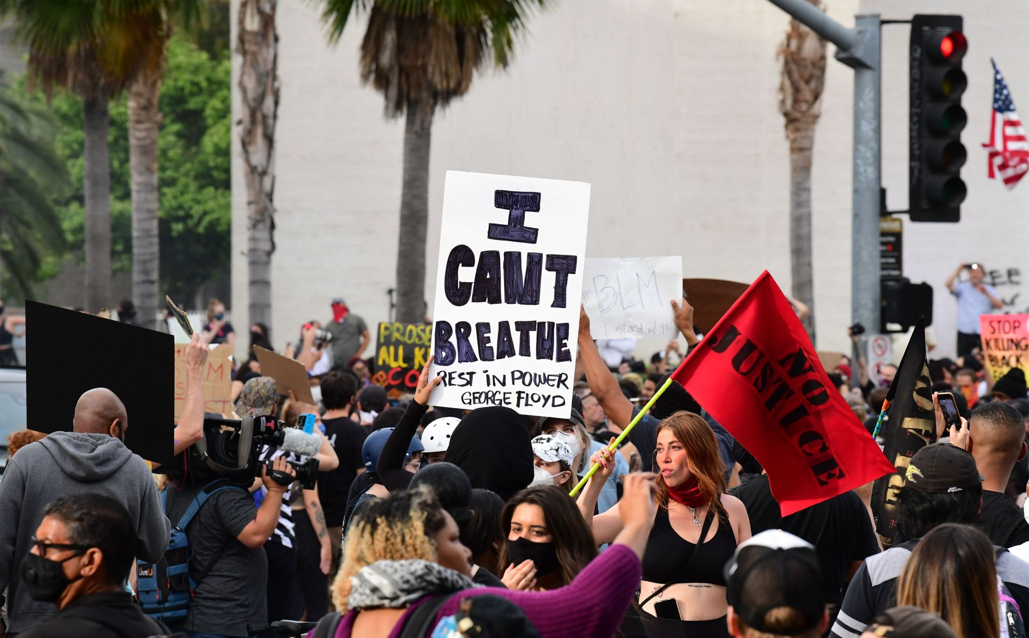 Protesters march through Hollywood during a demonstration over the death of George Floyd while in Minneapolis Police custody on June 2, 2020. (FREDERIC J. BROWN/AFP via Getty Images)
