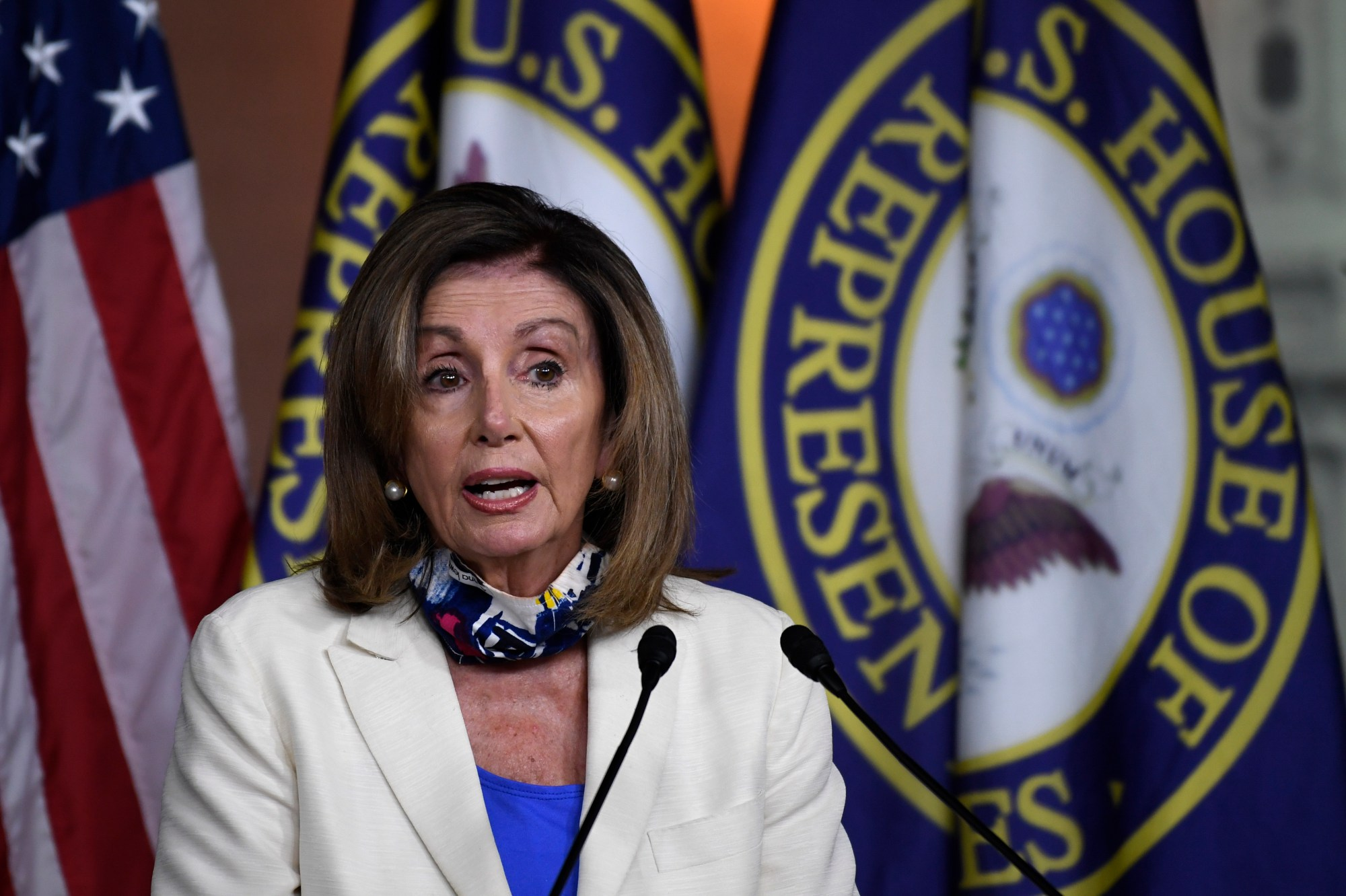 House Speaker Nancy Pelosi speaks during a news conference on Capitol Hill on July 16, 2020. (Susan Walsh/Associated Press)