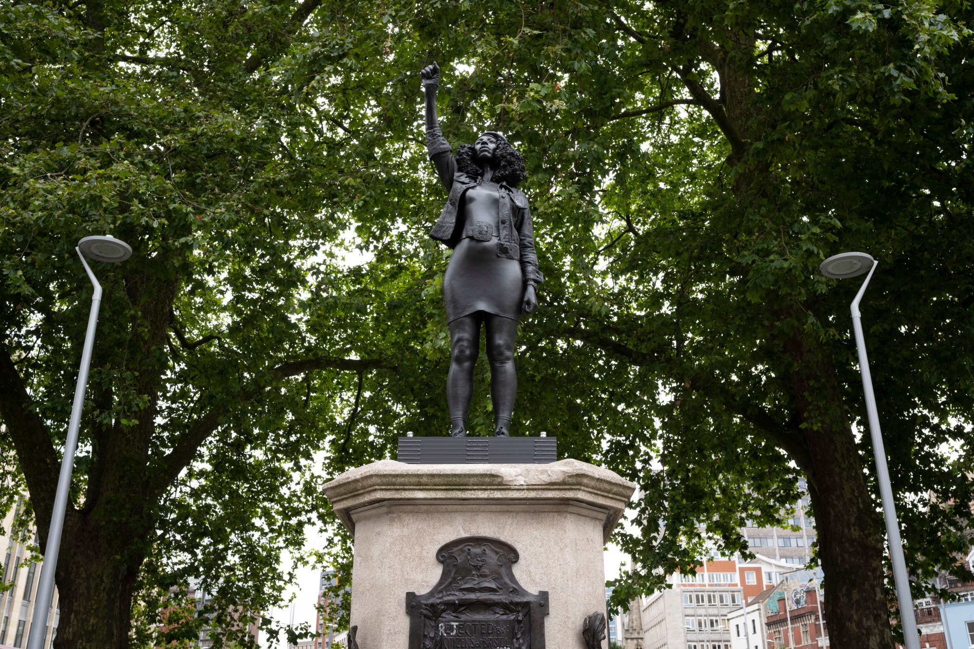 A new sculpture of Black Lives Matter protester Jen Reid stands on the plinth where the Edward Colston statue used to stand on July 15, 2020 in Bristol, England. (Matthew Horwood/Getty Images)