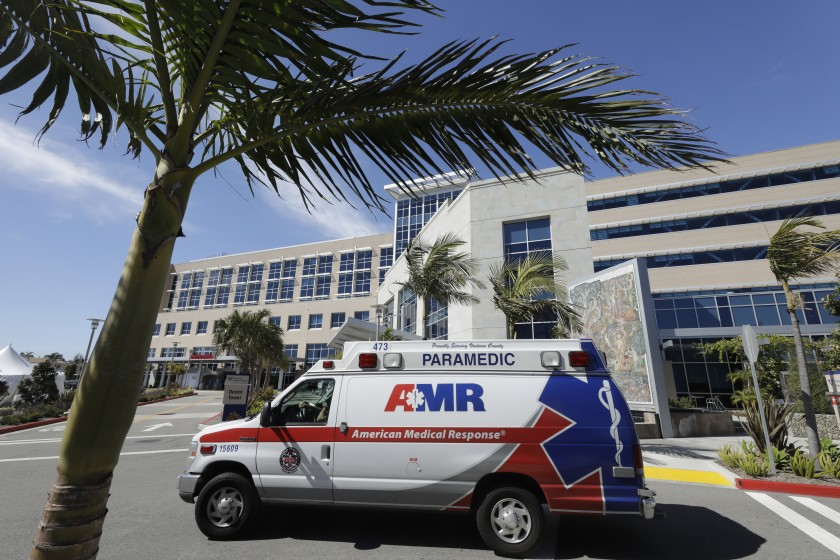 An ambulance sits outside the Ventura County Medical Center in this undated photo (Myung J. Chun / Los Angeles Times)