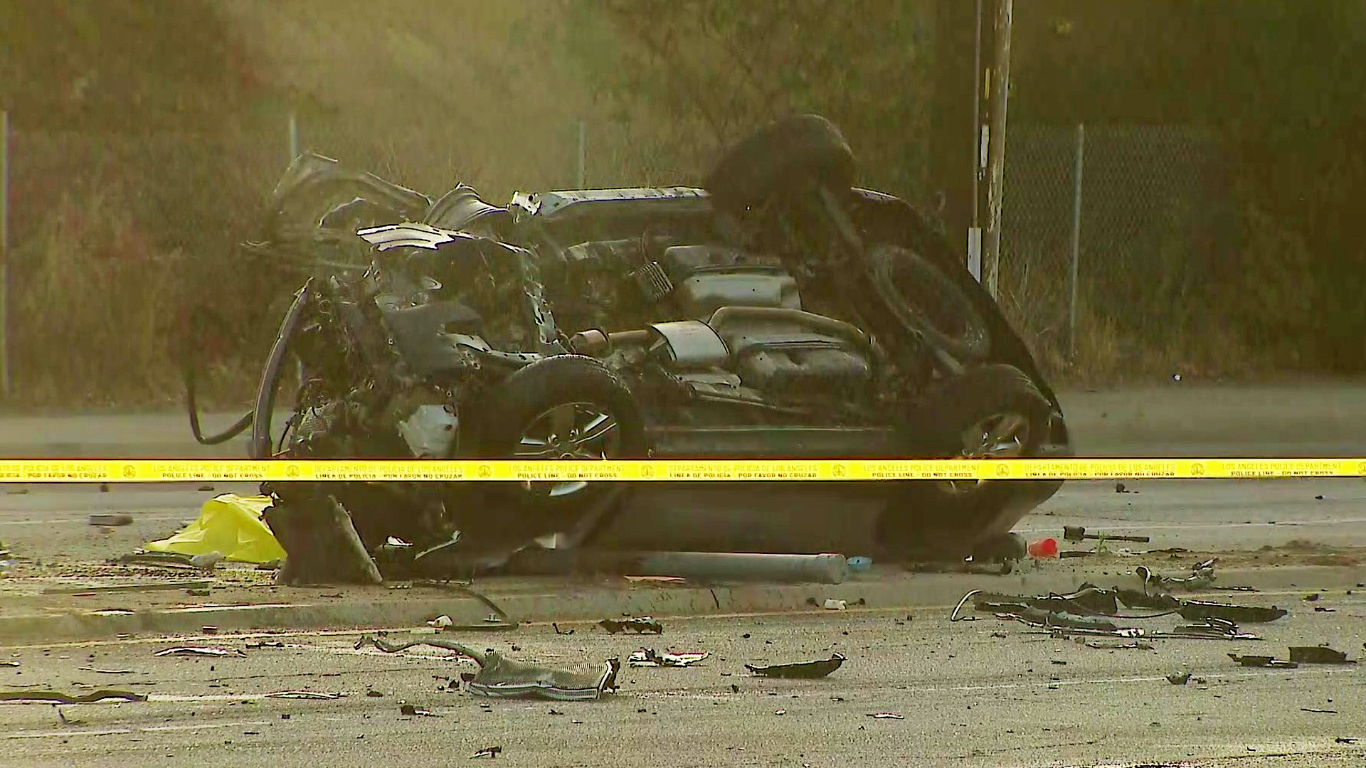 A vehicle involved in a deadly car crash in Culver City is seen on July 7, 2020. (KTLA)