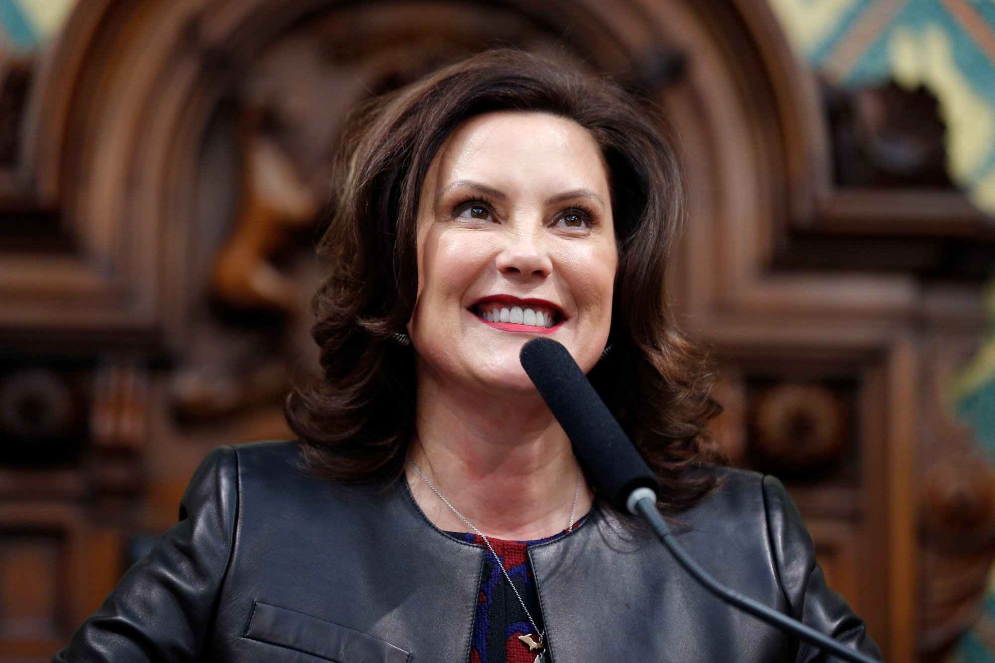 Michigan Gov. Gretchen Whitmer delivers her State of the State address at the state Capitol in Lansing, Michigan on Jan. 29, 2020. (AP Photo/Al Goldis, File)