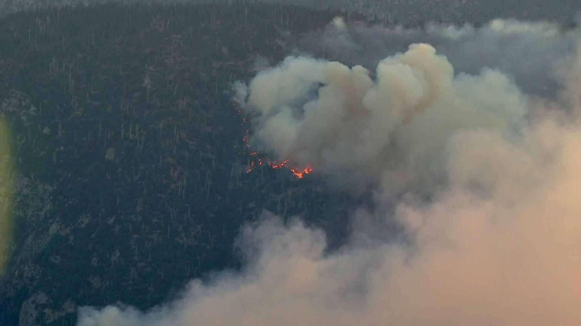The Apple Fire is seen from Sky5 on Aug. 3, 2020. (KTLA)