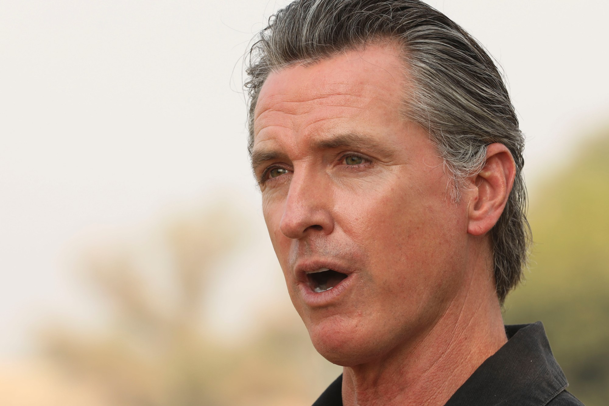 In this Sept. 14, 2020, file photo, California Gov. Gavin Newsom visits the Camelot Equestrian Park in Oroville, Calif. (Carin Dorghalli/Bay Area News Group via AP, File)