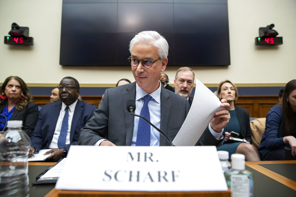 In this March 10, 2020 file photo, Wells Fargo CEO and President Charles Scharf is seated before he testifies during a hearing of the House Financial Services Committee, on Capitol Hill, in Washington. (AP Photo/Alex Brandon, File)