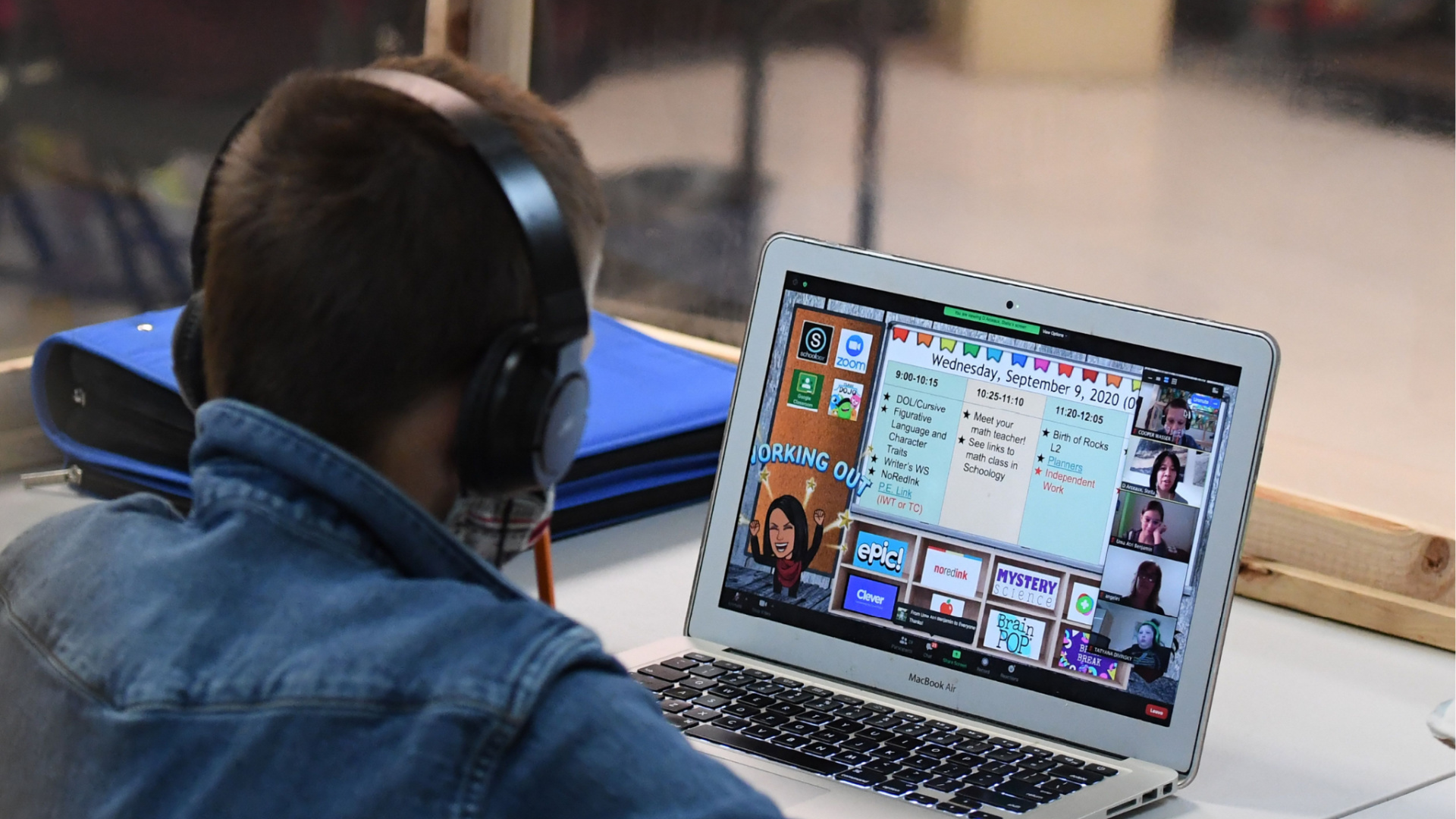 A students follows along remotely with his school teacher's online live lesson on Sept. 10, 2020 in Culver City, California. (ROBYN BECK/AFP via Getty Images)