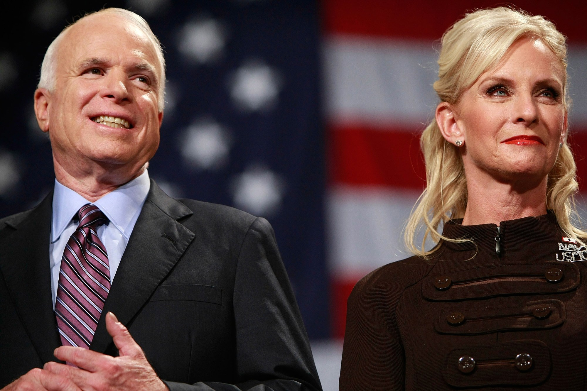 Then-Republican presidential nominee Sen. John McCain and his wife Cindy McCain attend a rally at the United Sports Training Center on Oct. 16, 2008, in Pennsylvania. (Chip Somodevilla/Getty Images)
