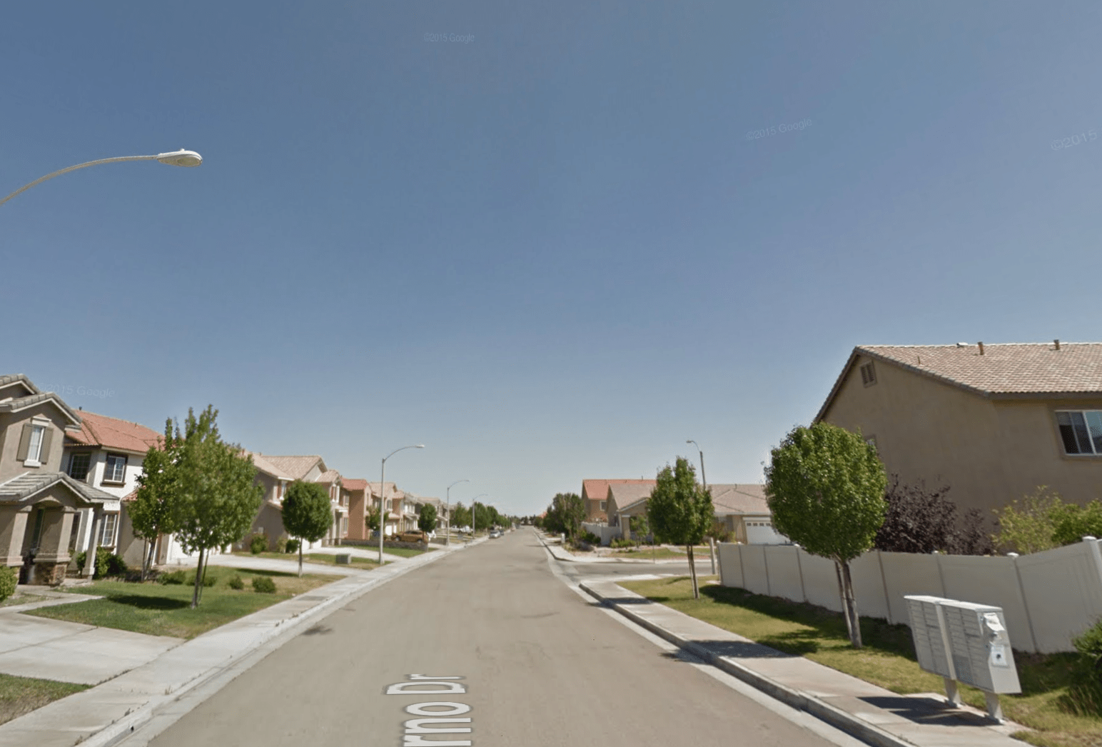 The 37000 block of Siderno Drive in Palmdale, Calif. appears in this image from Google Maps.