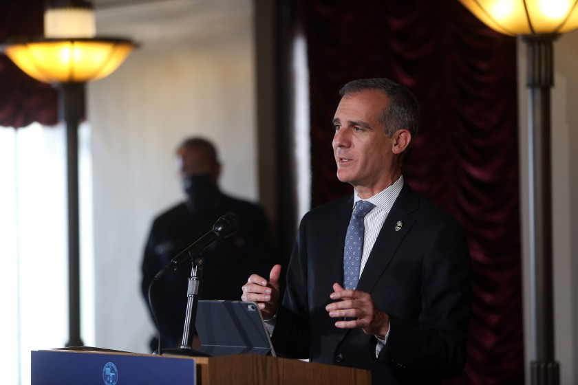 Los Angeles Mayor Eric Garcetti speaks during a news conference July 27, 2020.(Dania Maxwell / Los Angeles Times)