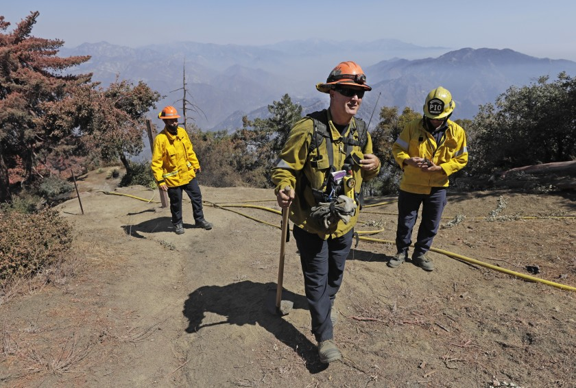 L.A. County Fire Department Capt. Dave Gillotte and his team fought the Bobcat fire, which approached Mt. Wilson from three directions.(Myung J. Chun / Los Angeles Times)