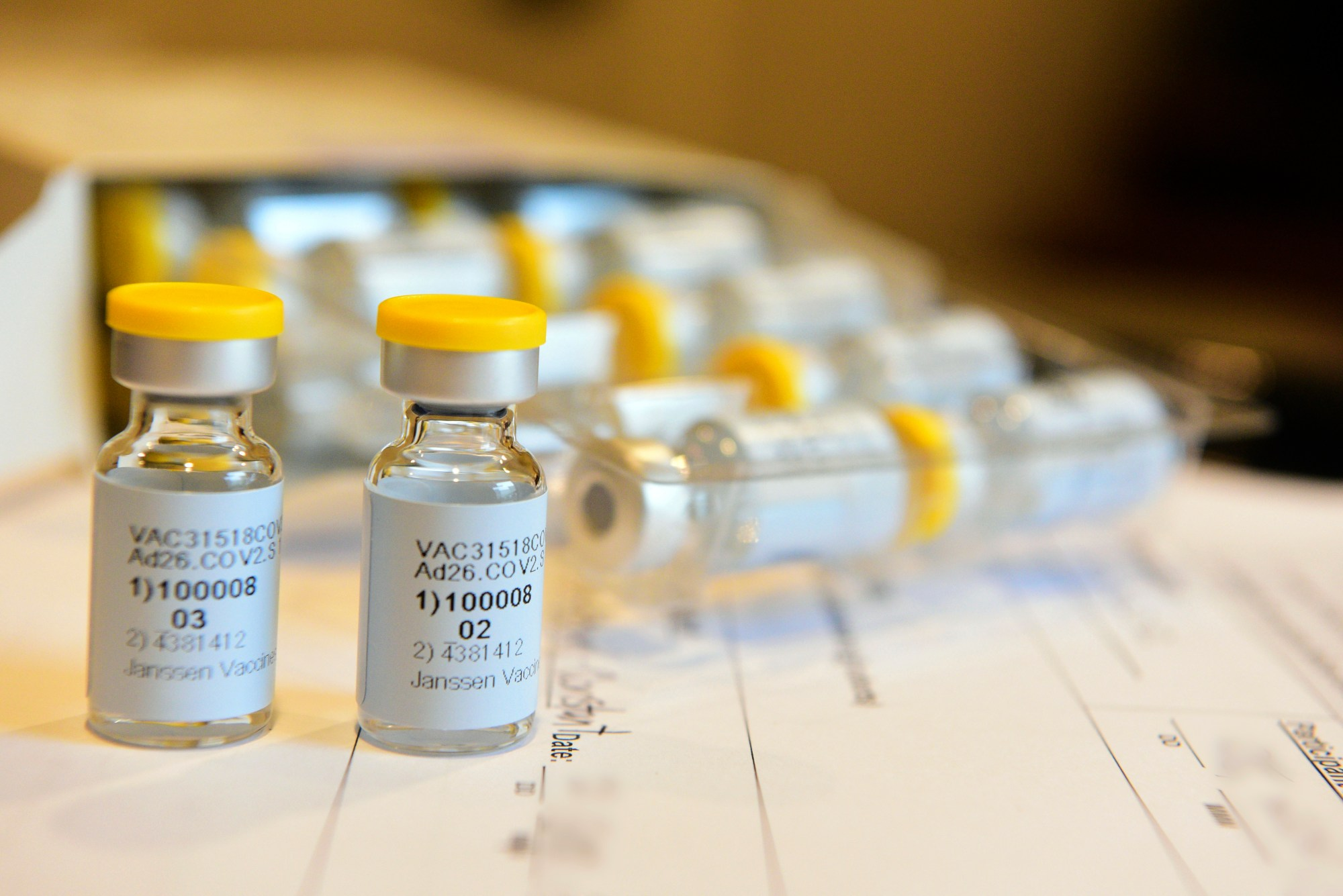 This September 2020 photo provided by Johnson & Johnson shows a single-dose COVID-19 vaccine being developed by the company. (Cheryl Gerber/Courtesy of Johnson & Johnson via AP)