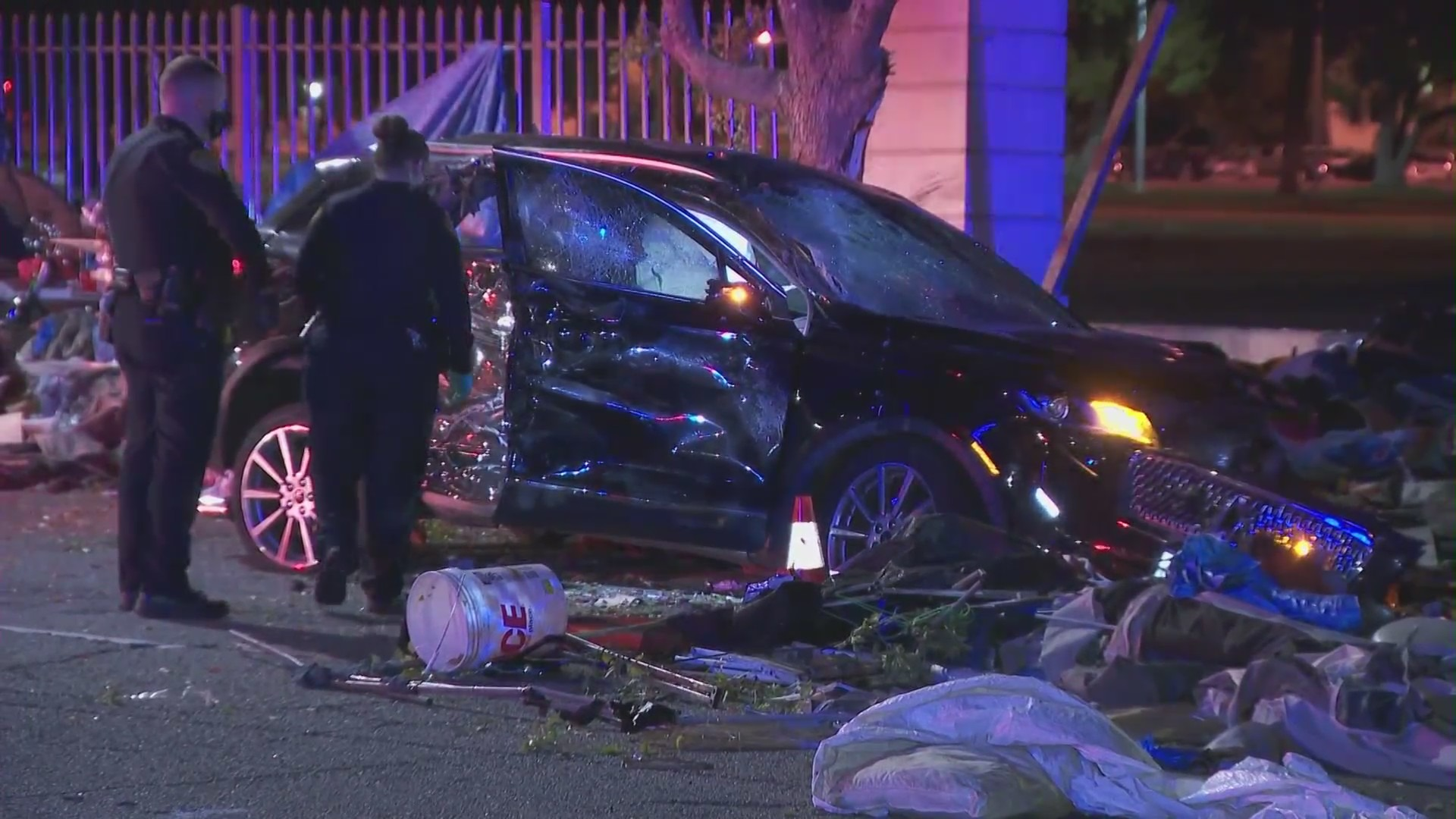 An SUV crashed into a homeless encampment in Brentwood on March 4, 4021. (KTLA)