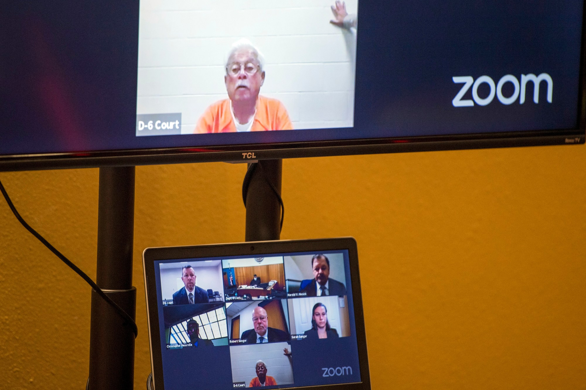 Defendant Ruben Flores appears via video conference during his arraignment, Thursday, April 15, 2021, in San Luis Obispo Superior Court in San Luis Obispo. (AP Photo/Nic Coury)
