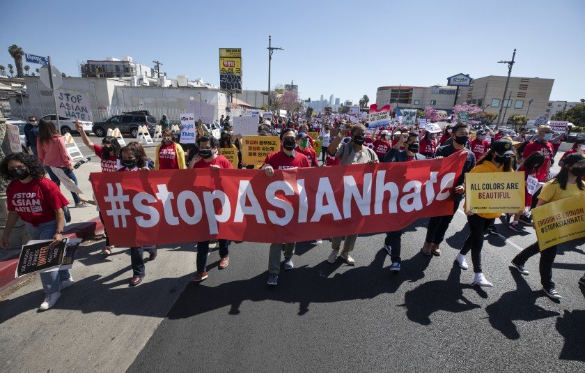 "Hundreds participated in a ""Stop Asian Hate"" rally in Koreatown in March 2021.(Myung J. Chun / Los Angeles Times)"