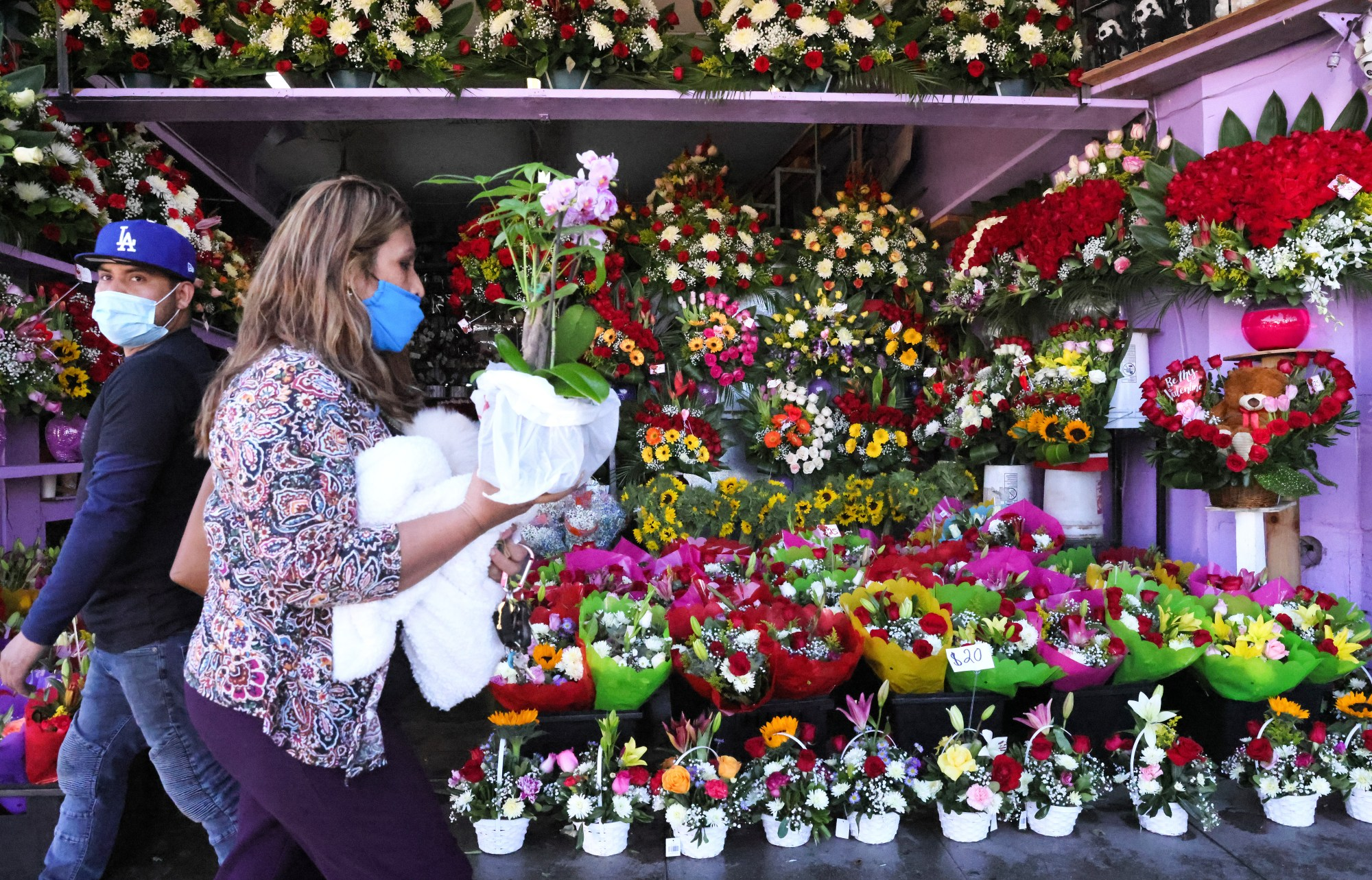 Flowers are displayed for sale in the flower district two days before Valentine's Day amid the COVID-19 pandemic on Feb. 12, 2021 in Los Angeles. (Mario Tama/Getty Images)