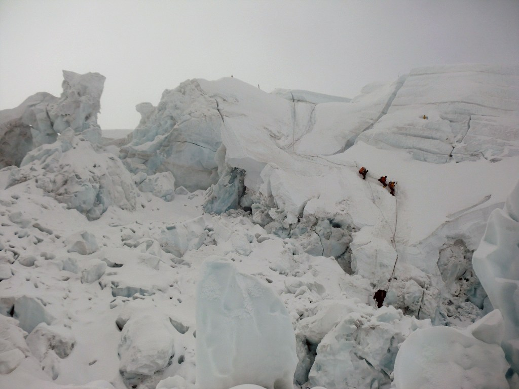 Descending down the Khumbu Icefall