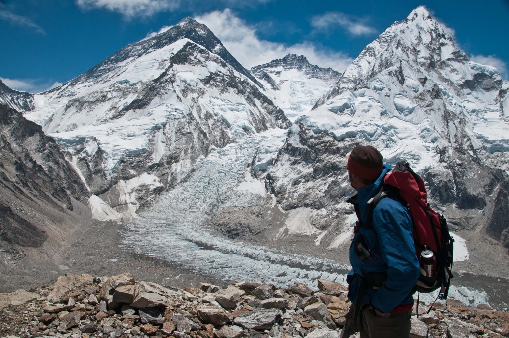 Checking out the upper slopes of Everest and Lhotse from Pumori Advanced Base Camp