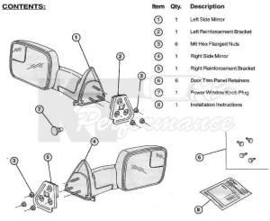 Dodge Tow Mirrors (200208) 1500 Ram & (200309) 25003500