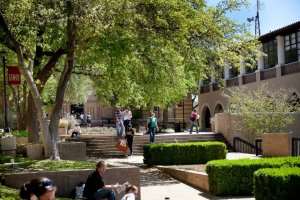 students on the Texas State campus
