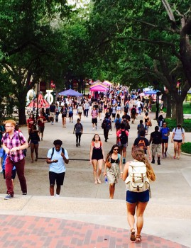 Students walk in the Quad