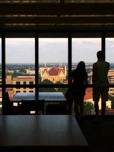 Old Main view from Alkek Library. Photo by Daryan Jones