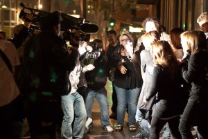 Teen singer and actress Miley Cyrus is confronted by flashing paparazzi photographers while leaving Katsuya restaurant in Hollywood, CA.