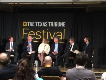"""Panelists discussing at the """"Paying for Higher Education."""" Photo by Conor Yarbrough."""