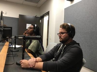 Tafari Robertson (left) speaks about the 2016 presidential election on KTSW 89.9 with Ian Coleman (right).