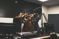 DeMarcus Cobb, Natalia Glenn, and Ezlyh Gutierrez end Music Talks with some selfies for their social media accounts.