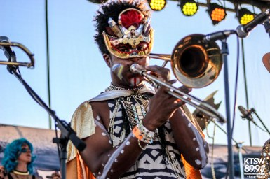The colorful wardrobe of Golden Dawn Arkestra's trumpeter.