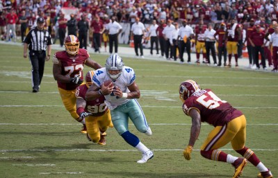 Dak Prescott has helped the Dallas Cowboys beat the Washington Redskins twice this season. Photo by Keith Allison via Flickr.