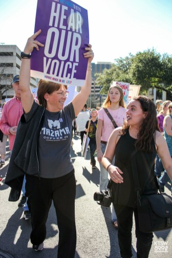 Mary Tyson (left) and Brooke Adams (right) walking with pride. (Women's March; Digital)
