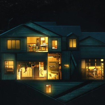 A house with lit windows floats above the title of the film