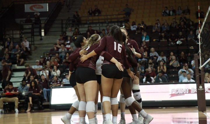 The Bobcats celebrate after earning a point.