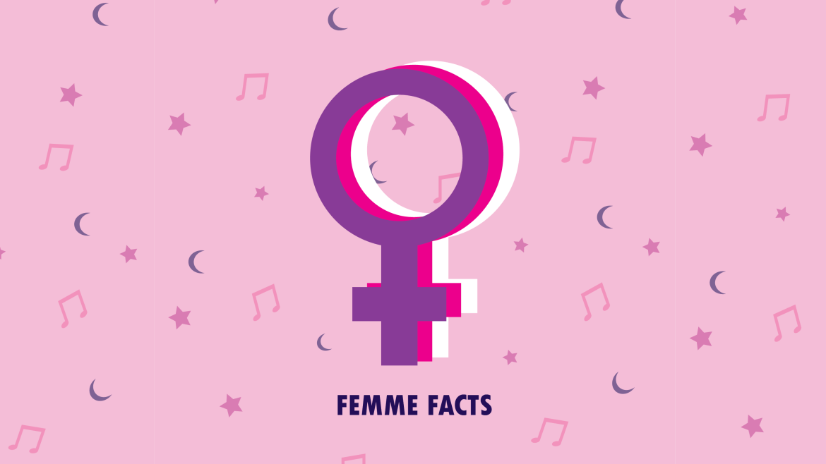 pink background with moons, stars and music notes. A purple, pink, and white female sign.