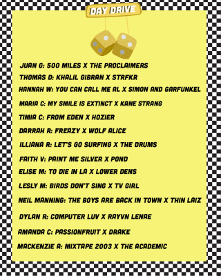 """A yellow pair of mirror dice on a rearview mirror with the phrase """"Day Drive"""" on a yellow background with the names of the music journalists and their song choices down the page"""