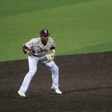 Jaylen Hubbard Texas State baseball player playing third base