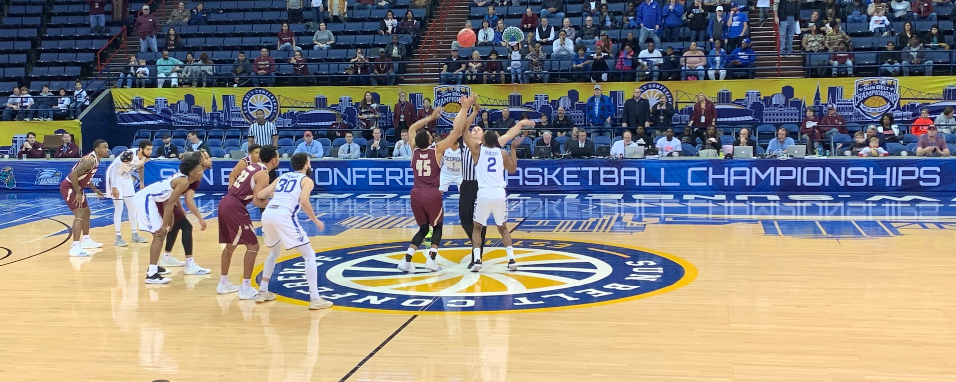 Eric Terry jumps for the opening tip as the Bobcats begin their battle with the Georgia State Panthers in the semifinals of the Sun Belt conference tournament.