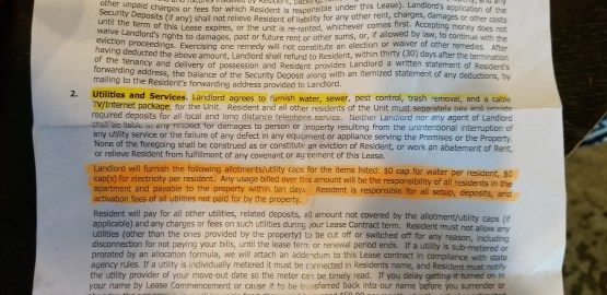 Image of a segment of a leasing agreement. The highlighted section indicate the language sited by both parties.