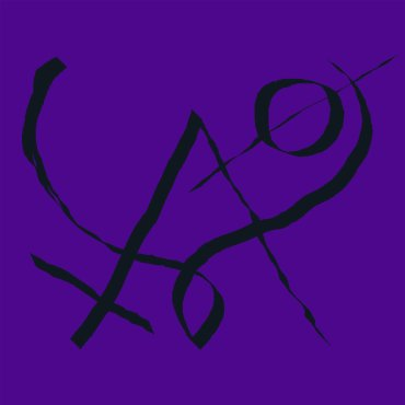 The album is a purple background with a black symbol.