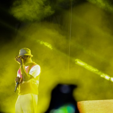 The photo is of Tyler The Creator performing hits from his album Flower Boy at the Mala Luna Festival.