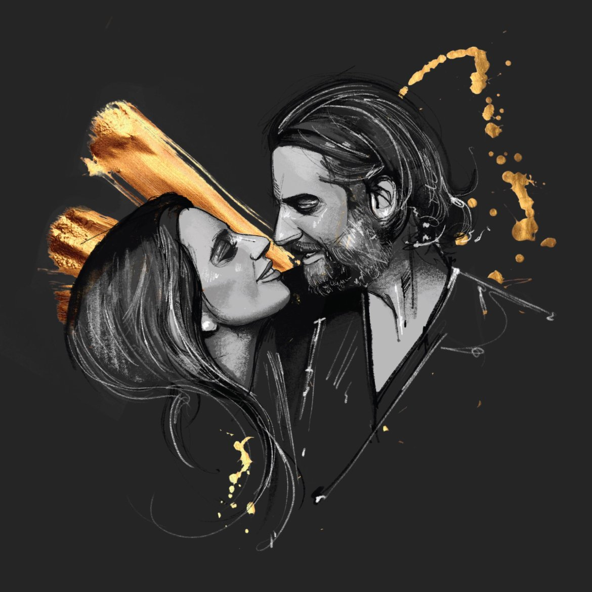 A dark grey background, with a man and a woman looking into each others eyes, about to kiss. They are drawn in black and white, and there is a shimmering gold accent behind them.