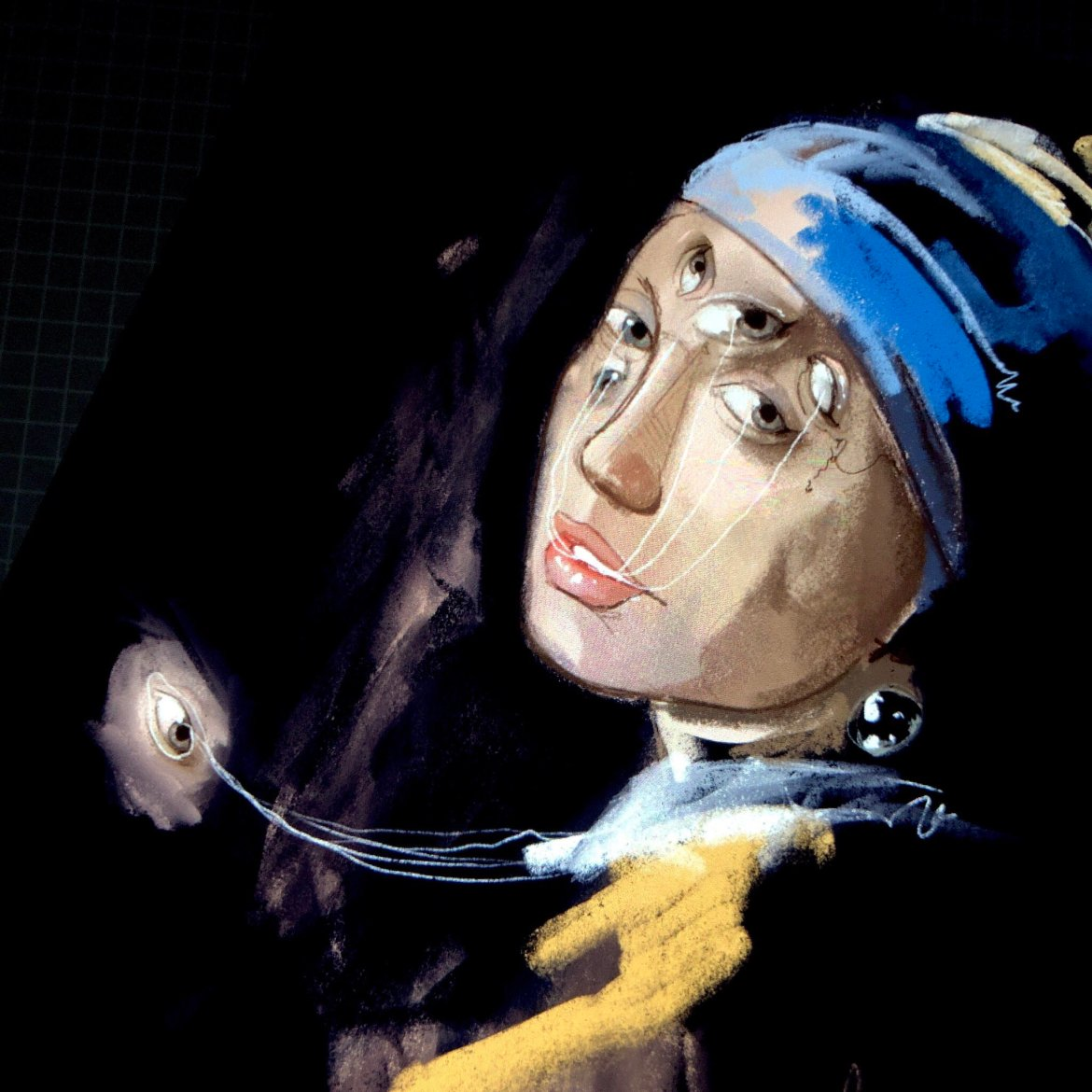 A woman with a blue and gold head wrap. Her face is in profile, and a pearl earring is seen just above her neck. Her forehead and cheeks are covered with eyes, which are connected to other eyes outside of her body, drifting in the darkness.