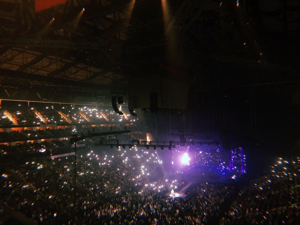 """A sea of lighters and phone lights during """"Love Of My Life."""""""