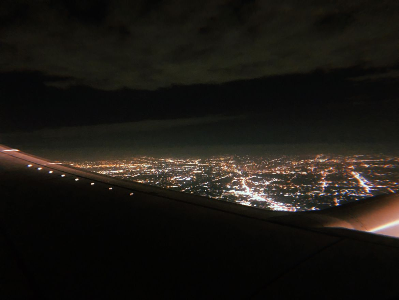 The skyline of Austin, Texas during a night flight.
