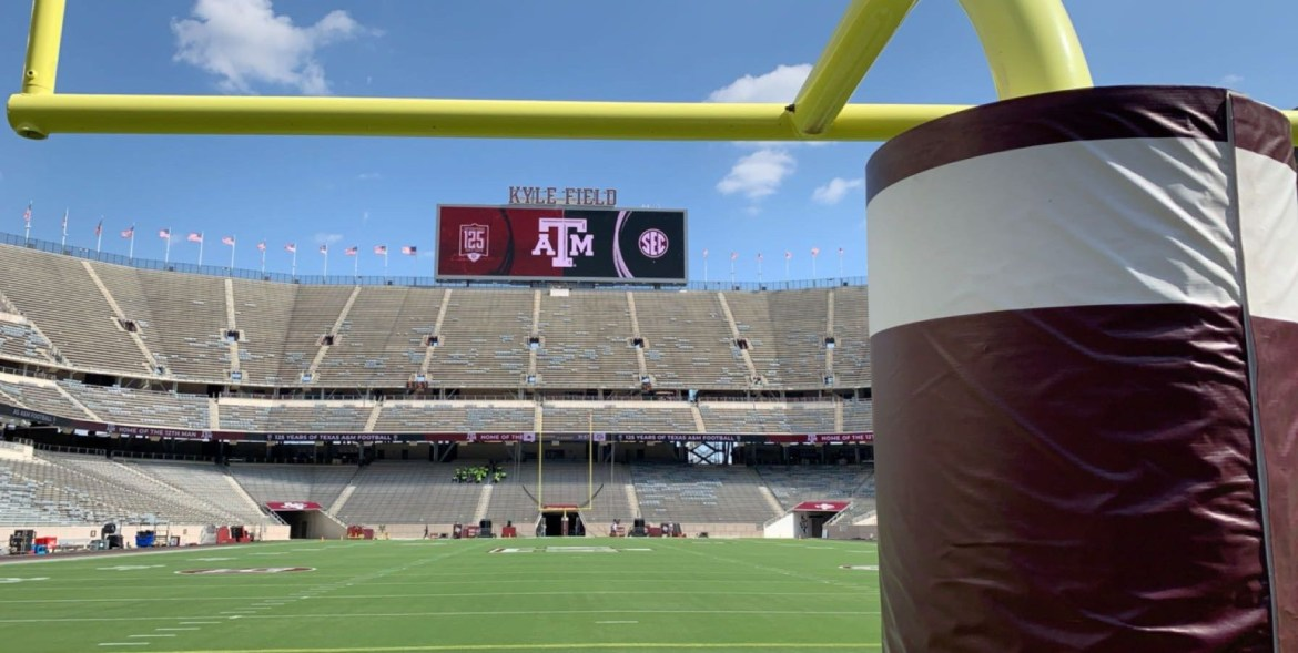 view of Kyle field stadium from behind the goal post.